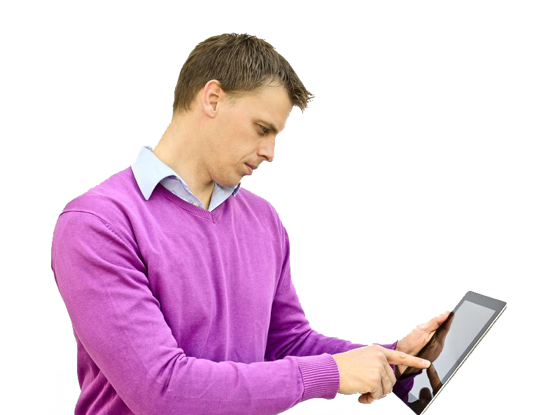 Man using cfaformula.com app on iPad